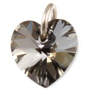 Swarovski Silver Night Crystal Heart And Silver Charm